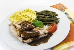 豆绿色猪肉片式 库存照片