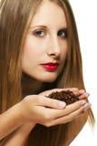 豆美丽的咖啡递她的藏品妇女 库存图片