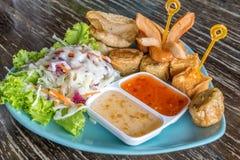 豆腐、香肠,猪肉饺子油煎的和沙拉 免版税库存照片