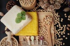 豆腐和大豆是可口的 免版税图库摄影