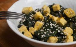 豆腐用菠菜 图库摄影