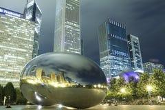 豆芝加哥晚上 库存照片