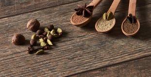 豆蔻果实,丁香,肉豆蔻,八角,多香果 不同的类型 免版税库存照片