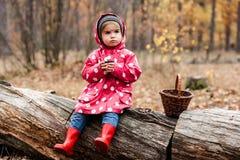 豌豆夹克的小女孩坐树和饮用的茶 库存照片