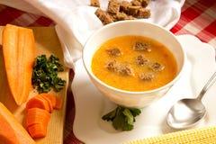 豌豆奶油色汤用红萝卜、南瓜和黑麦油煎方型小面包片 免版税库存图片