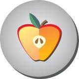 象一半在样式的成熟水多的红色苹果平在一灰色backgr 免版税库存照片