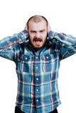 画象一红胡子,成为秃头男性残酷 白色被隔绝的b 免版税图库摄影