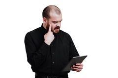 画象一红胡子,成为秃头男性残酷 白色被隔绝的b 库存照片