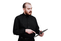画象一红胡子,成为秃头男性残酷 白色被隔绝的b 免版税库存照片