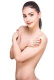 画象一年轻深色露胸部在白色背景 免版税库存照片