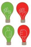 象不同的终止OK图标的电灯泡显示 免版税库存照片