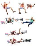画象亚洲更加年轻的人飞行和假期活动happi 库存照片