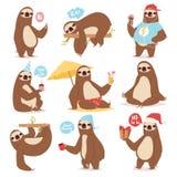 象人的逗人喜爱的懒惰动画片kawaii和减速野生平密林的哺乳动物的懒惰怠惰动物字符另外姿势 库存照片