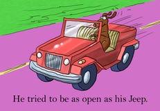 象他的汽车他是开放的对新的事情 库存例证