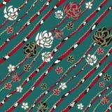 象别针、银环蛇和首饰金刚石链子的抽象派玫瑰在绿松石背景 库存例证