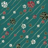 象别针和首饰金刚石链子的抽象派白色,红色和黑玫瑰在绿松石背景 向量例证