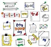 象办公室汤用品的夹子 套手拉的五颜六色的被隔绝的乱画笔记 免版税库存图片