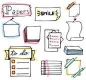 象办公室汤用品的夹子 套手拉的五颜六色的被隔绝的乱画笔记 免版税图库摄影