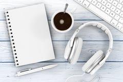 象办公室汤用品的夹子 被打开的笔记本,笔,键盘, Hea顶视图  向量例证