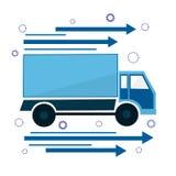 象卡车去 交付和递送急件服务的标志 库存照片