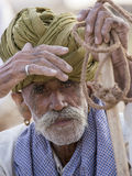 画象印地安人在普斯赫卡尔 印度 库存照片