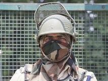 画象印地安边境卫兵在斯利那加,克什米尔,印度 免版税库存照片
