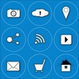 象在与照相机,社交,地点, wifi的蓝色背景中 免版税库存照片