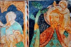 象在被加强的撒克逊人的教会里在村庄Malancrav,特兰西瓦尼亚 免版税库存图片