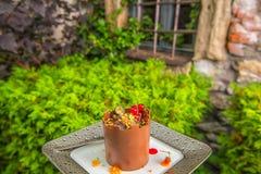 象塔的专属巧克力蛋糕用果子在黑色的盘子,法式蛋糕铺的,城堡的点心产品摄影服务 免版税库存照片