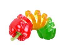 象多彩多姿的辣椒粉被切的苗条的玩&# 免版税库存照片