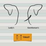 象套人和Toilet Sign夫人 库存图片
