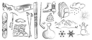 象套冬天对象:曲棍球,冰鞋,滑雪,雪撬,背包,雪板 库存图片