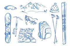 象套冬天对象:滑雪,起重吊钩,雪板 库存照片