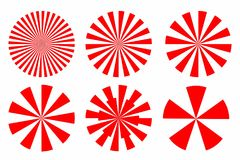 象套红色镶有钻石的旭日形首饰的抽象圆几何形状与 库存图片