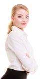 画象女实业家。典雅的少妇白肤金发的女孩被隔绝。 免版税库存图片