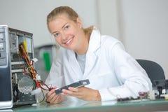 画象女性计算机技术员 库存照片