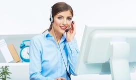 画象妇女顾客服务工作者,电话中心微笑 免版税库存图片