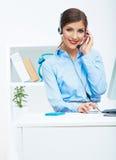 画象妇女顾客服务工作者,电话中心微笑 库存图片