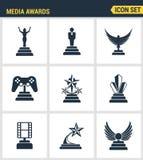象媒介的被设置的优质质量授予冠军得奖的企业奖励元素 现代图表收藏平的设计样式s 免版税图库摄影