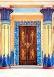 象形文字的雕刻和绘画在一个古老埃及寺庙的内墙上 库存图片