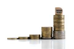 象征与词`复利`的被堆积的硬币复利作用用德语 免版税库存照片