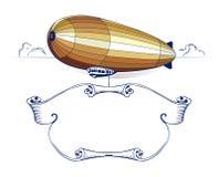 象征减速火箭的丝带策帕林飞艇 免版税库存图片