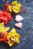 象征性两心脏和礼物 免版税库存照片