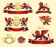 象征设置与纹章学狮子 免版税库存照片