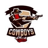 象征,商标,从两把左轮手枪的牛仔射击 狂放的西部,恶棍,得克萨斯,强盗,警长,罪犯,盾 免版税库存照片