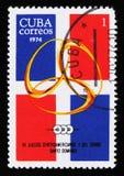 象征,第12场中美洲和加勒比比赛,圣多明哥,大约1974年 免版税库存照片