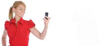 画象微笑的女商人电话谈话 免版税库存照片