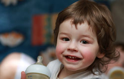 画象微笑的男孩孩子 库存图片