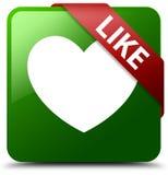 象心脏象绿色正方形按钮 库存照片