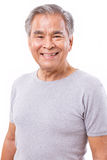 画象愉快,微笑,正面资深亚裔人 库存图片